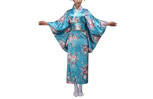 Femme Japonais traditionnel kimono de vêtements costumes cosplay (Bleu 1, M)