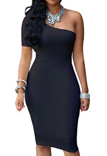 Femmes Sexy une épaule manches courtes Slim Cocktail Clubwear Robe moulante Midi Noir