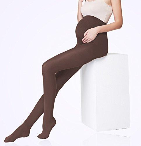 Vellette Strumpfe & Strumpfhosen Opaque Umstandsstrumpfhose Unterstutzung Leggings Mutterschaft Hose fur alle Phasen der Schwangerschaft Damen 180D Braun