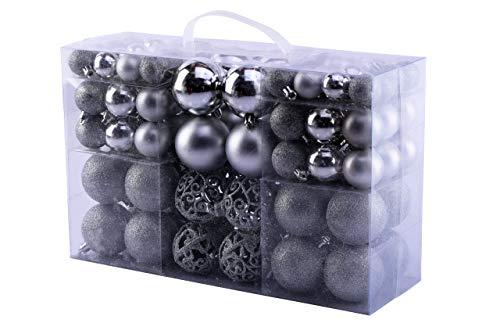 Mc trend 100 palline di natale opache, lucide, in plastica, Ø fino a 6 cm, per albero di natale, rosso oro argento