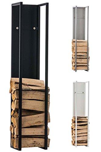 CLP Kaminholzregal Spark I Brennholzregal aus Edelstahl I Holzbutler in verschiedenen Größen und Farben erhältlich Schwarz matt, 25 x 25 x 80 cm