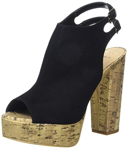New Look - Wide Foot Perry, Sandali Donna col plateau e tacco Nero (Black (01/Black))