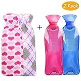 Wärmflasche, Tencoz 2L Wärmflaschen Mit Bezug Wärmflaschen mit hochwertigen supersoft Plüsch Bezug langlebig und sicher für Bauch Rücken und Nacken (2 Pack)