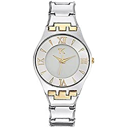Women Watch Trendy Kiss Ladonas, Silver and Yellow Gold Stainless Steel Bracelet - TMG10053-31 - BLUE PEARLS