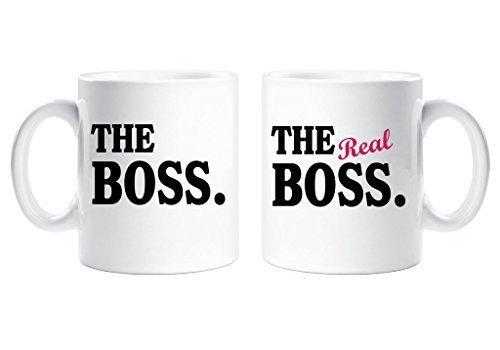 Il boss the real boss coppie set di tazze genitori regalo marito moglie fidanzato ragazza regalo di san valentino natale anniversario tazza ceramica