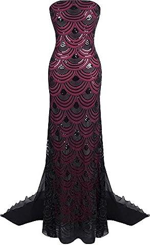 Angel-fashions Femme Paillette bretelles train chapelle Lace Up longue robe de bal Small