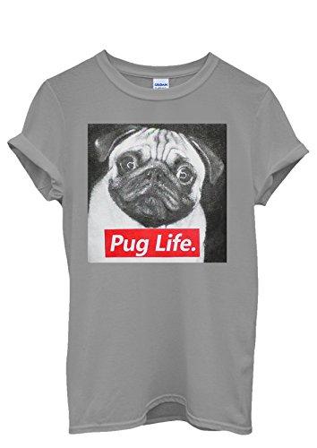 Pug Life Dog Doggie Animal Cool Funny Men Women Damen Herren Unisex Top T Shirt Grau