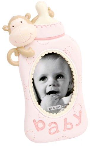 Baby in resina a forma di cornice portafoto a forma di bottiglia, colore: rosa - Bottiglia Dummy