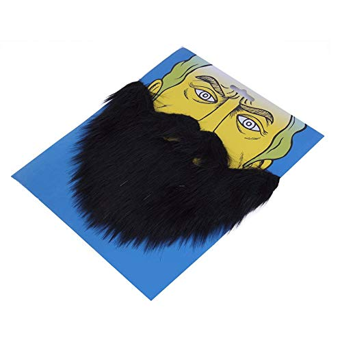 ARDUTE Fancy Dress Bigote y Barba falsa Fiesta de disfraces para EL Cabello Facial Disfraces de Halloween Máscaras Accesorios Larga pelusa - Negro