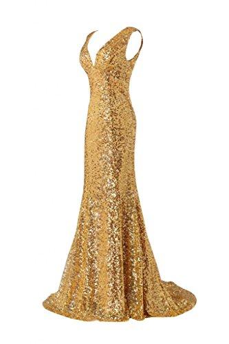 Sunvary sirena Paillettes scintillanti, colore oro, con scollo a V abito da sera sera Gold