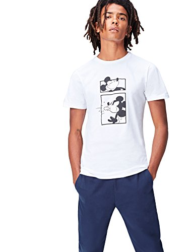 FIND T-Shirt Imprimé Mickey Homme, Blanc (White), X-Large