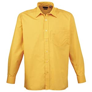 Premier-Camisa-lisa-de-manga-larga-con-bolsillo-formalpara-trabajar-caballerohombre-16-medida-cuello-42cmAmarillo-oscuro