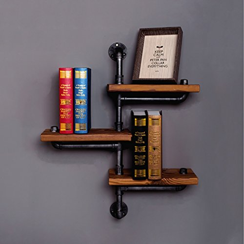 FAFZ Wandregal Wandregal American Village Eisenregal Wand Massivholz Rack Retro Sanitär Bücherregal Küchenregal Wandhalterung Ablage (Bücherregal American)