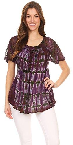 Sakkas Isayan Multi Color Agrémentée Tie Dye Sheer Manches Tunique 4-Bourgogne / Violet