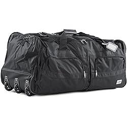 Bolsa de deporte, bolsa de viaje con mango telescópico extensible, bolsa de viaje negro negro XXL 140 L