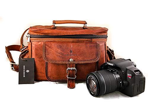 Nick & Nische Premium Handgefertigt handgefertigten Vintage Style Echtes Leder Kamera DSLR Digital Kamera Tasche für Sony Nikon Cannon mit Objektiv Partition Gepolsterte 11L x 9H x 6W Zoll