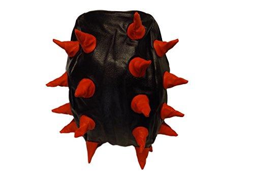 Rucksack - Schwarzer weicher Unisex Studenten Rucksack aus Kunstleder mit Stacheln schwarz/rot mit Spikes Rucksack