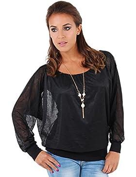 KRISP® Donne Oversize 2 in 1 Chiffon Blusa Kimono Manica Piena Top Collana Tunica Casual