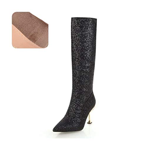 a1fdd67f7ab43 HAOLIEQUAN Size 32-43 Knee High Winter Boots Women High Heel Long Boots  Warm Woman Shoes Bling Lady Party Shoes,Black Velvet,10.5