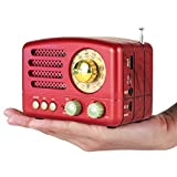 PRUNUS Klassisches Retro-Holz Design UKW FM AM(MW) SW SD USB MP3 Bluetooth Transistor Laderadio mit Lautsprecher, unterstützt AUX-Funktion, 270° großes Kompass Tuning Fenster. (Rot)
