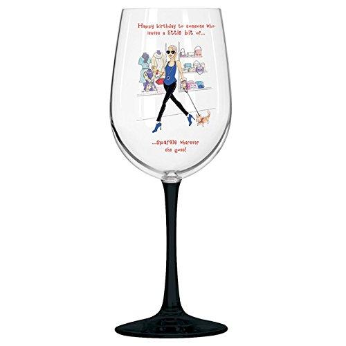 Sassy bicchiere di vino e sottobicchiere coordinato-Buon compleanno a qualcuno che lascia un po 'di Sparkle Wherever She Goes. - Buon Vino