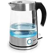 Klarstein Pure Water bollitore elettrico senza fili con illuminazione interna a LED blu (indicatore di livello dell'acqua, struttura in vetro e acciaio, capacità 1,7 litri) - argento