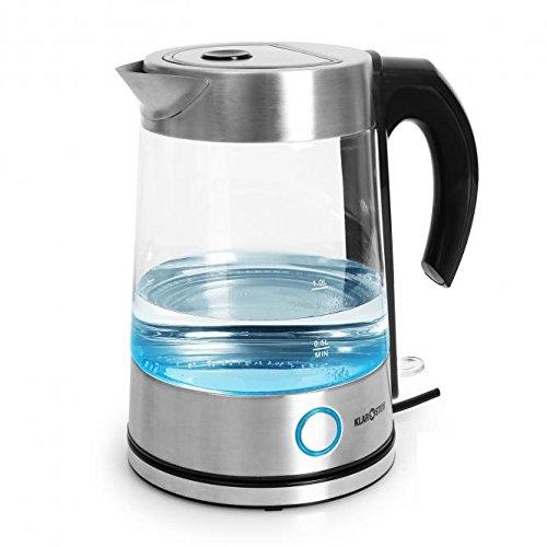Pure Water Wasserkocher Teekocher (2200 Watt, 1,7 Liter, Edelstahl, blaues LED-Design) silber