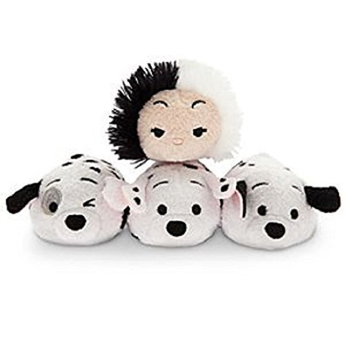 s ''Tsum Tsum'' Mini Plush Collection - 3 1/2'' Cruella De Vil plus Rolly, Lucky, and Patch Dalmations by Disney ()