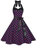 Zarlena Damen 50er Retro Rockabilly Pola Dots Petticoat Neckholder Kleid Blau mit pinken Dots 3X-Large 4250647201254k