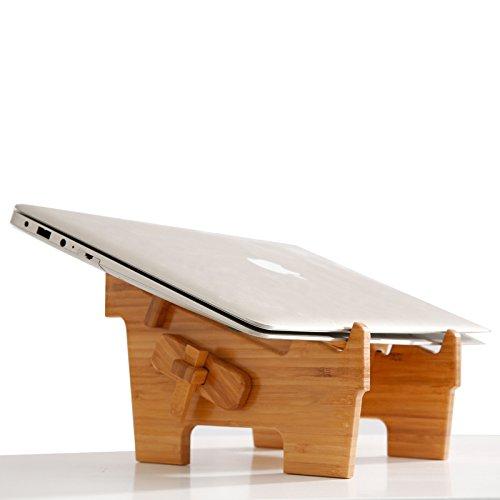 Holz Laptop-Ständer mtwhirldy belüftet Steht für Schreibtisch Notebook Halter Computer Riser Reittiere Kompatibel mit 27,9-38,1cm MacBook Air Mac Pro HP Dell Oberfläche Etc.-Natur Bambus (Computer Keyboard Mount Und)