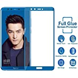 Frazil Full Glue, Full Coverage Edge-to-Edge 5D Tempered Glass Screen Protector for Huawei Honor 9 Lite (Blue)