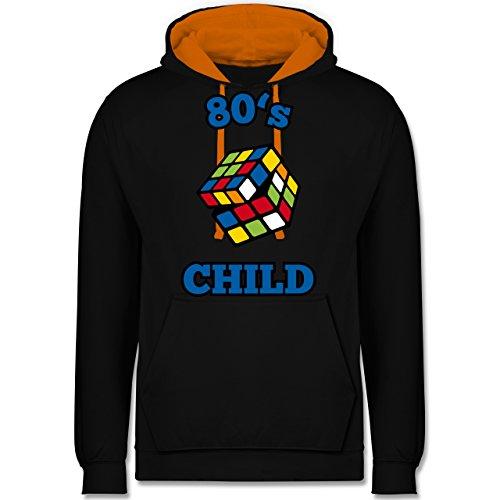 Statement Shirts - 80's Child - Zauberwürfel - Kontrast Hoodie Schwarz/Orange