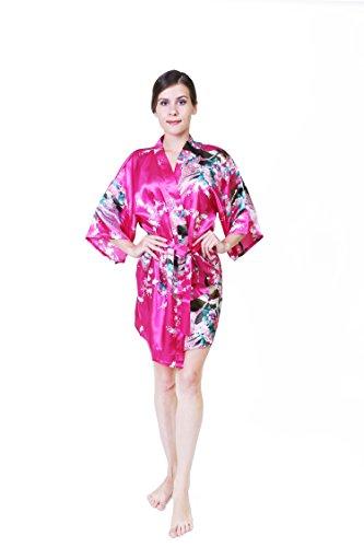KEYNIS Damen Morgenmantel Satin Kimono Robe Bademantel Nachtwäsche mit Pfau und Blumen Kurze(M Rosa) (Robe Kimono Rosa)