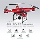 MachinYeseed SH5H 2.4G FPV Drohne RC Quadcopter mit 3 Batterien 1080P Weitwinkel-WiFi HD-Kamera Live-Videohöhe Halten Headless-Modus Rot
