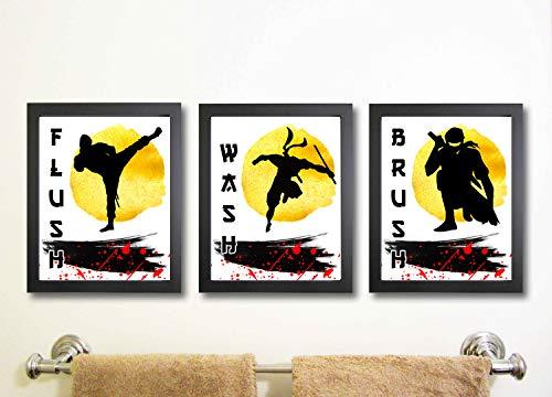 Ninja Wash Brush Flush Badezimmer Set Wall Art Decor (Drei) Raum Dekoration ()