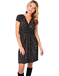 eac7b0823d KRISP® Women Knot Front Dress Ruched Flattering Stretch Spring Dresses Black