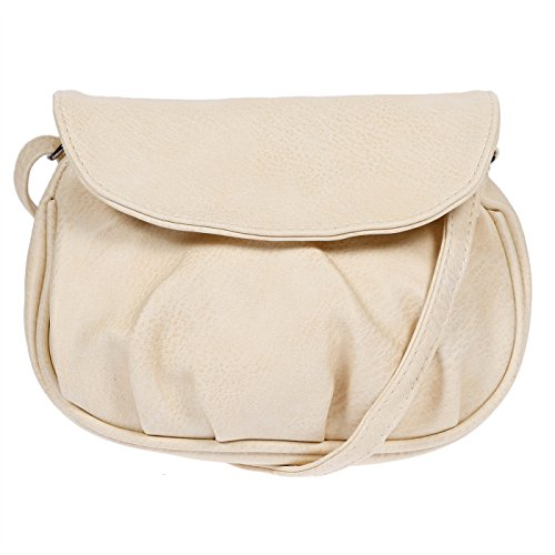 NEW BAGS Schultertasche Abendtasche Umhängetasche Überschlagtasche S NB3041 Kunstleder 19cmx15cmx6cm (BxHxT) (Helltaupe)