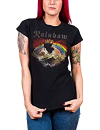 Rainbow T Shirt Rising Distressed band logo offiziell damen Skinny Fit