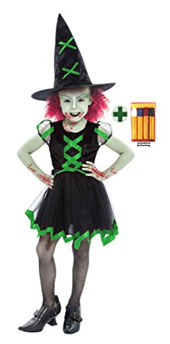 exe Zombie Kostüm Grusel Hexen-Kostüm inkl. Schminke Halloween Zombie Hexen Kinder-Kostüm Mädchen-Kostüm Größe 140-152 (Zombie Kostüm Für Kinder)