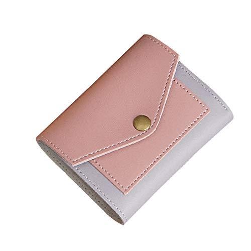 Mode Frauen Nähen Kurze dreifache Brieftasche Kontrastnaht Umschlag weiblich 9x11,5 cm rosa -