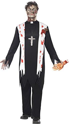 Smiffys, Herren Zombie-Priester Kostüm, Oberteil mit Schal und Latex-Wunden, Kragen und Hose, Größe: L, (Kostüme Priester Nonnen Und)