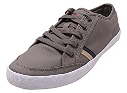 Roadster Mens Grey and White Leather Sneakers - 8 UK