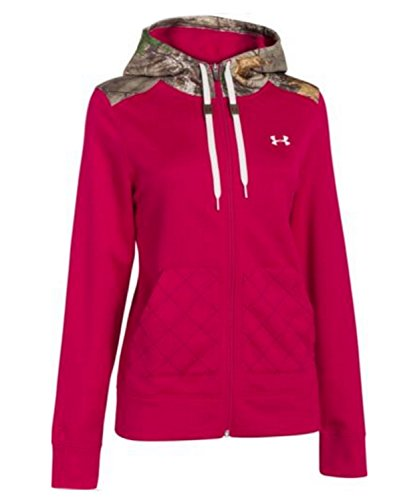 Under Armour Womens UA Storm Full Zip Hoodie Sweatshirt (Large) Camo Red Fucsia (Für Under Armour Frauen Up Zip)