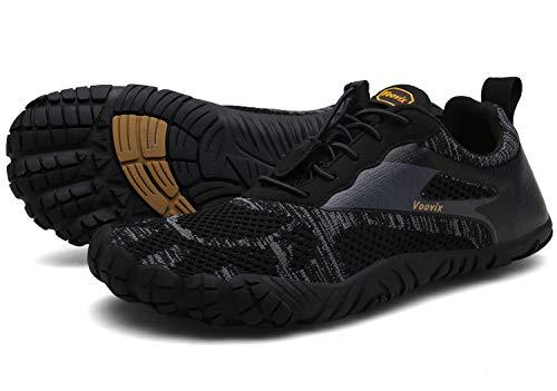 Voovix Herren Damen Barfußschuhe Fitnessschuhe Laufschuhe Minimalistische Traillaufschuhe Trekkingschuhe Wanderschuhe Outdoor Sneaker im Sommer Schwarz46