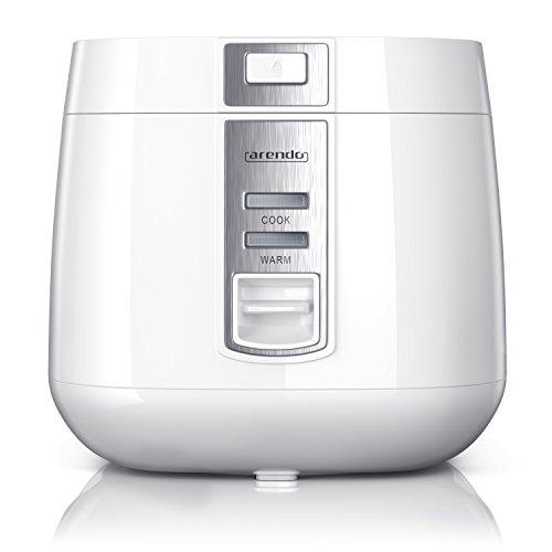 Arendo - Reiskocher | Dampfgarer / Dampfgarerfunktion | 1,4l Kapazität | Überhitzungsschutz + Thermosicherung | automatische Warmhaltefunktion | 540W | wärmeisolierendes Doppelwanddesign | in weiß