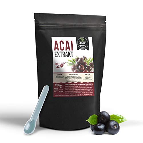 Acai Beeren EXTRAKT | 5{c9acacd04c39f9b3c85f5602c00479a4ccdb93bb0800169dabfd1a096885f1d0} Anthocyanin | 100g PULVER | naturrein - ohne Zusatzstoffe und laborgeprüft | Beere mit Wirkung - organic berry powder | hochdosiert vegan & in Deutschland abgefüllt