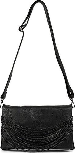 styleBREAKER Clutch Tasche, Crossbody Bag mit Reißverschluss Ketten Applikation, 3-in-1 Tasche, Schulterriemen, Abendtasche, Damen 02012203, Farbe:Schwarz Schwarz