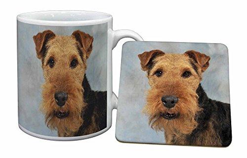 Advanta - Mug Coaster Set Welsh -Terrier-Hund Becher und Untersetzer Tier Geschenk -