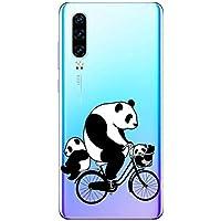 Suhctup Funda Compatible para Huawei Mate 20 Lite,Carcasa Transparente Dibujos Animal Suave Silicona TPU Gel Bumper Ultra Pulgada Antigolpes Crystal Clear Protector Piel Case Cover,Panda 9