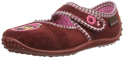 Pferdefreunde 230207, Chaussons courts, non doublées fille Rouge - Rosso (Rot (himbeer))